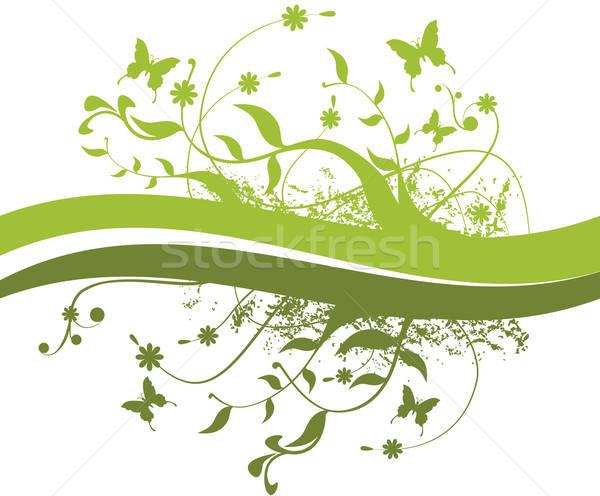 Bladeren vlinders bloemen alle groene Stockfoto © anaklea