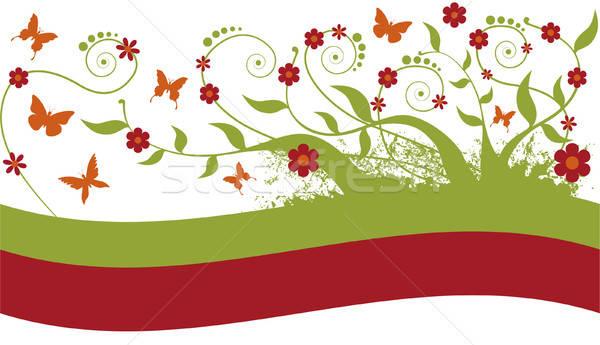 Ornament bladeren bloemen vlinders Stockfoto © anaklea