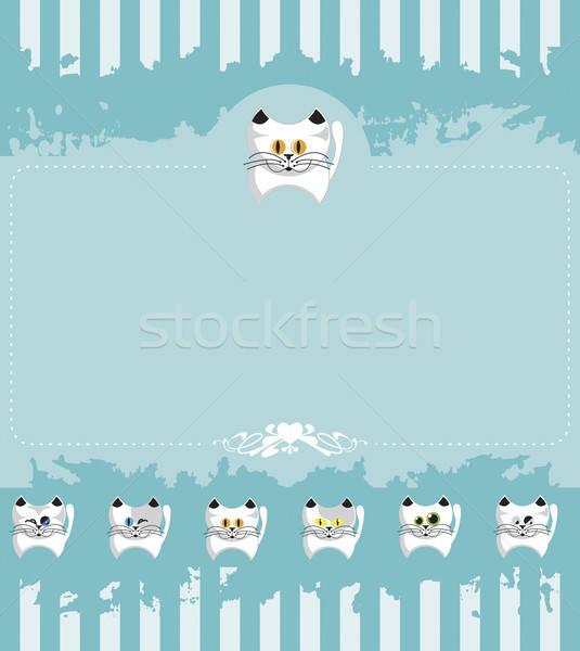 Papier uitnodiging kittens witte Stockfoto © anaklea
