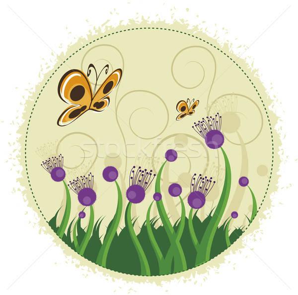 Purple flowers and butterflies. Stock photo © anaklea