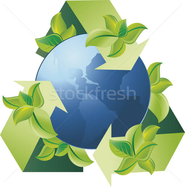 Recycleren groene wereldbol symbool veel loof Stockfoto © anaklea