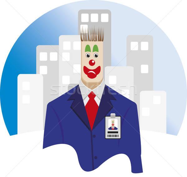 Werknemer clown uitvoerende pak stropdas Stockfoto © anaklea