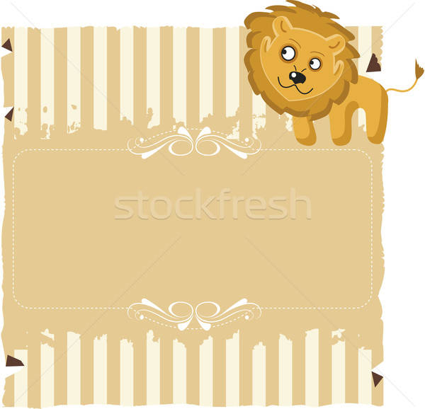 Paper with stripes and a Lion Stock photo © anaklea