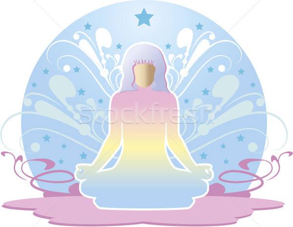 Vrouw mediteren rond ornamenten sterren yoga Stockfoto © anaklea