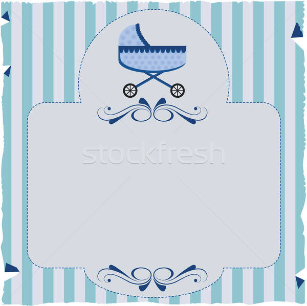 Paper invitation with stripes and baby buggy. Stock photo © anaklea
