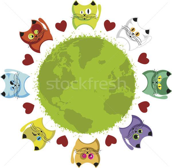 Wereld kittens wereldbol kleurrijk harten kat Stockfoto © anaklea