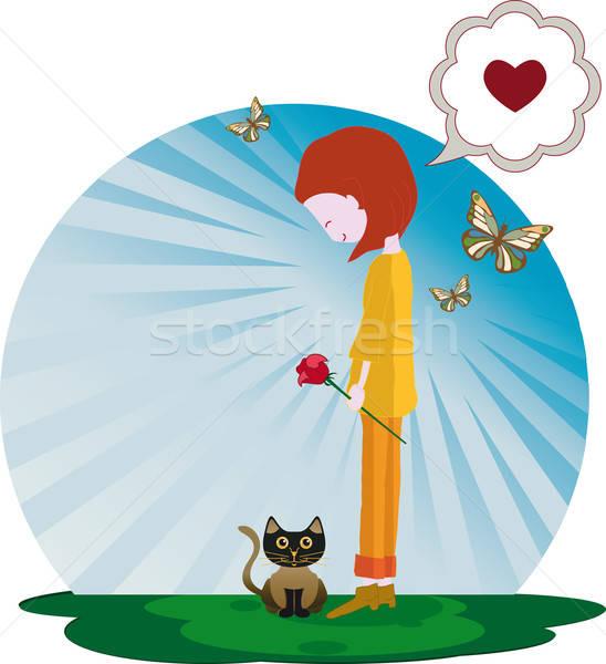 Meisje steeg gelukkig meisje kitten terugkeren Stockfoto © anaklea