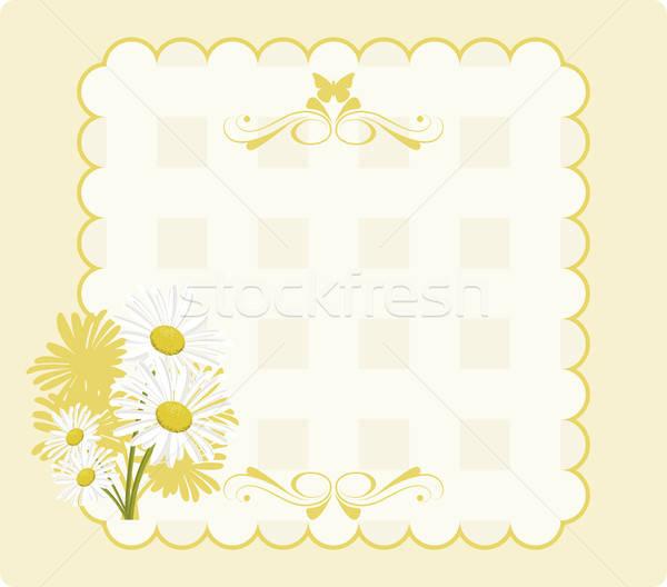 Papier uitnodiging madeliefjes Geel vlinder ornamenten Stockfoto © anaklea