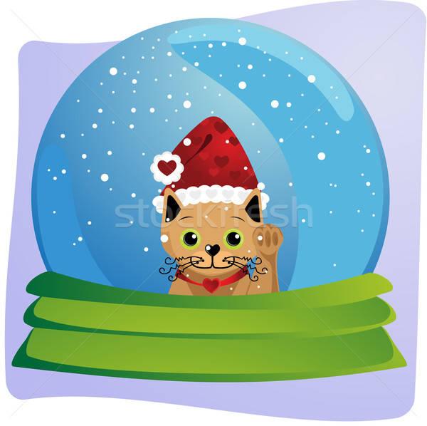 Kitten christmas wereldbol gelukkig kat binnenkant Stockfoto © anaklea