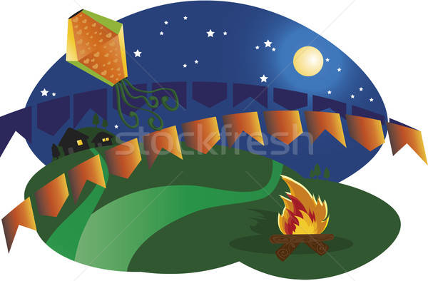 Partij Brazilië typisch festival maan nacht Stockfoto © anaklea