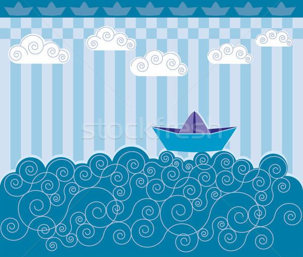 Boot papier zeilen Blauw golven Stockfoto © anaklea