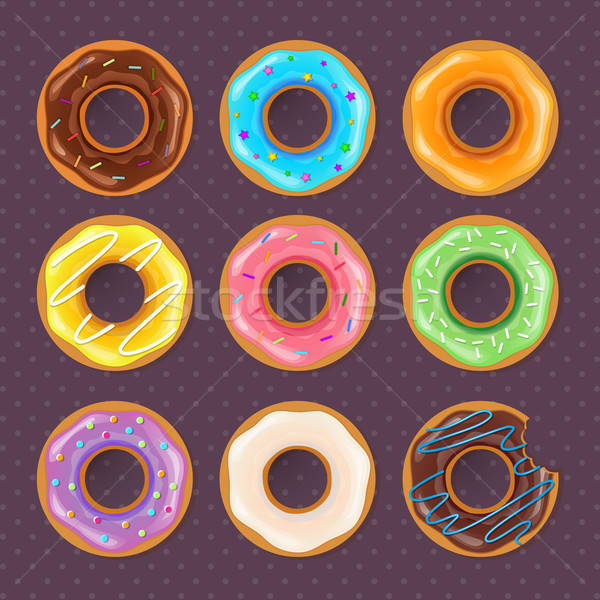 Kleurrijk donuts zoete ingesteld chocolade restaurant Stockfoto © anastasiya_popov