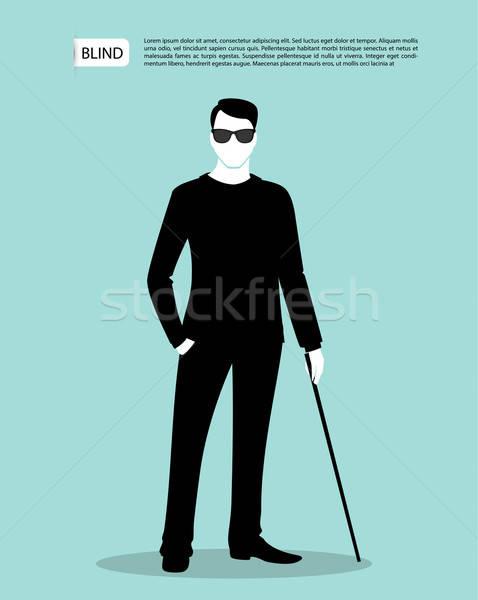 ブラインド 男 シルエット 画像 ビジネス 手 ストックフォト © anastasiya_popov