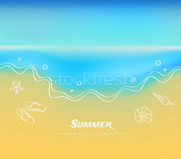 Nyár homok víz égbolt absztrakt természet Stock fotó © anastasiya_popov
