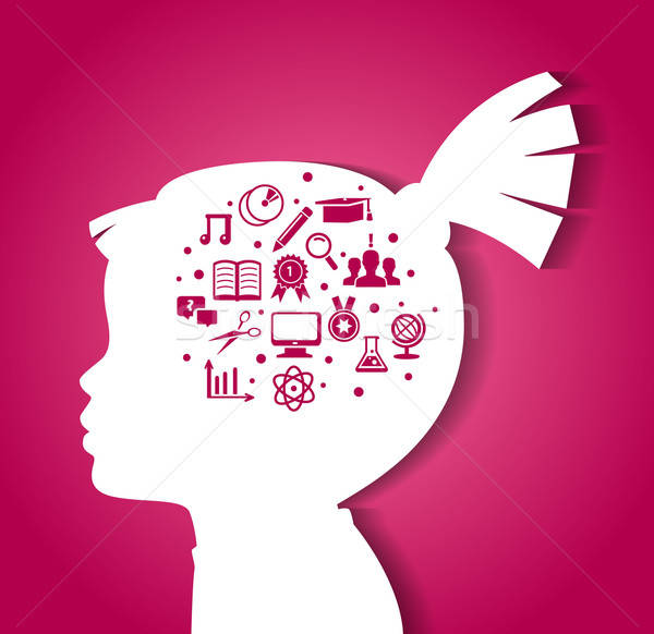 Stock photo: Child head with education icons