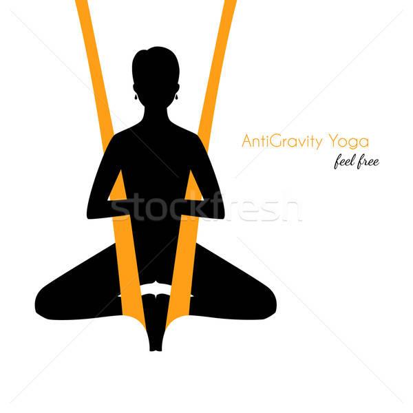 Yoga kadın siluet vücut dans spor salonu Stok fotoğraf © anastasiya_popov