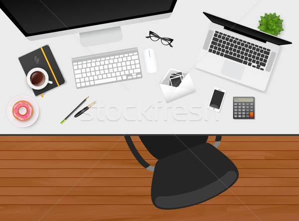 Werkplek geïsoleerde objecten papier koffie technologie toetsenbord Stockfoto © anastasiya_popov