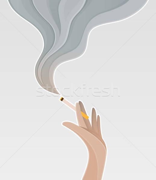 Sylwetka strony papierosów sztuki dymu Zdjęcia stock © anastasiya_popov