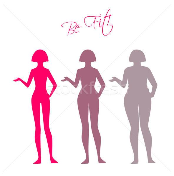フィット 女性 シルエット スポーツ ボディ ストックフォト © anastasiya_popov