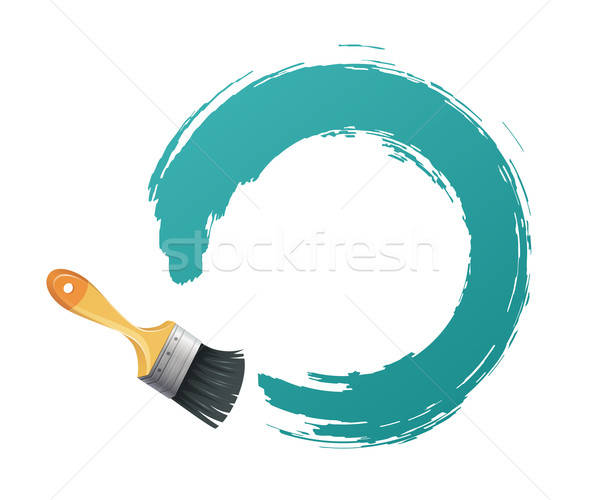 Paint brush woth blue banner Stock photo © anastasiya_popov