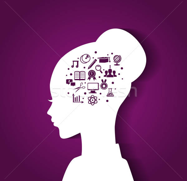 Woman's head with education icons Stock photo © anastasiya_popov