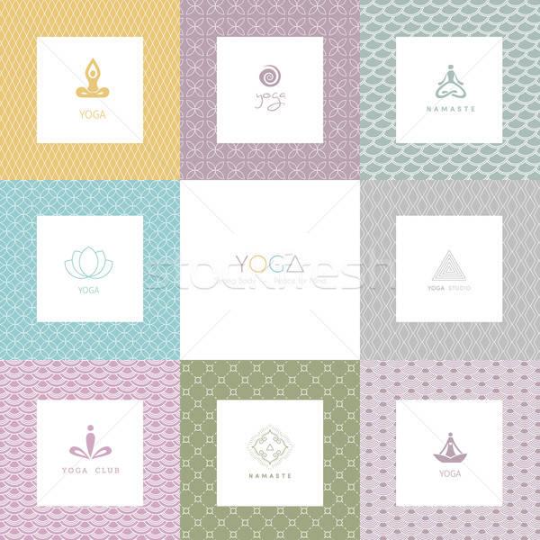 Set logos modelli yoga studio fiore Foto d'archivio © anastasiya_popov