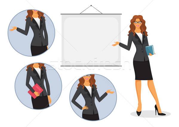 Foto stock: Feminino · professor · conselho · menina · livro · educação