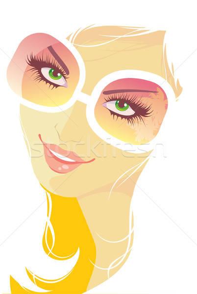 Donna occhiali da sole faccia salute arte occhiali Foto d'archivio © anastasiya_popov