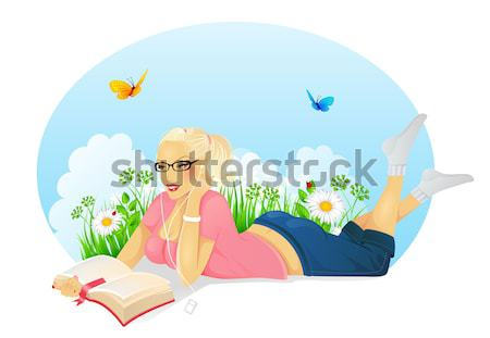 読む 女性 図書 顔 幸せ 学生 ストックフォト © anastasiya_popov