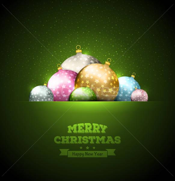 Christmas szablon świetle tle zimą Zdjęcia stock © anastasiya_popov