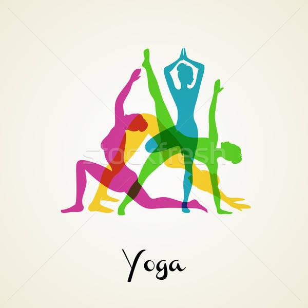 Yoga poses silhouette Stock photo © anastasiya_popov