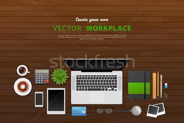Werkplek geïsoleerde objecten koffie pen laptop achtergrond Stockfoto © anastasiya_popov