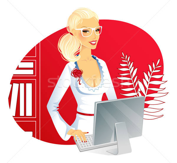 Femme d'affaires ordinateur femme main travaux étudiant Photo stock © anastasiya_popov