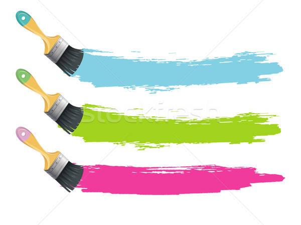 Paint brushes with color splashes Stock photo © anastasiya_popov