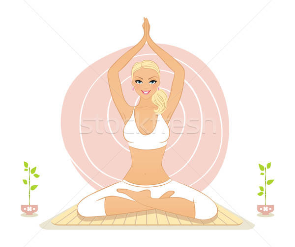 Beautiful woman doing yoga exercises Stock photo © anastasiya_popov