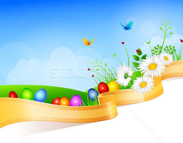 Páscoa modelo de design natureza projeto folha quadro Foto stock © anastasiya_popov