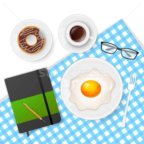 Sabroso desayuno café huevos libro diseno Foto stock © anastasiya_popov