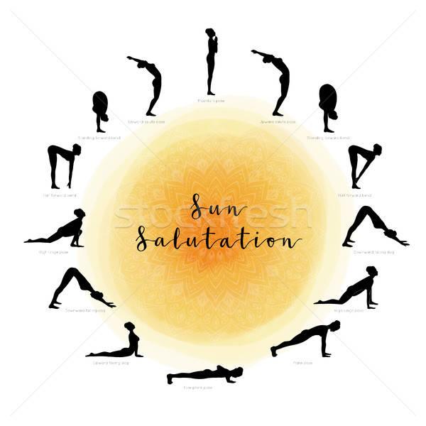 Soleil sport corps santé silhouette spa Photo stock © anastasiya_popov