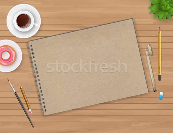 工作區 筆記本 咖啡 紙 鉛筆 背景 商業照片 © anastasiya_popov