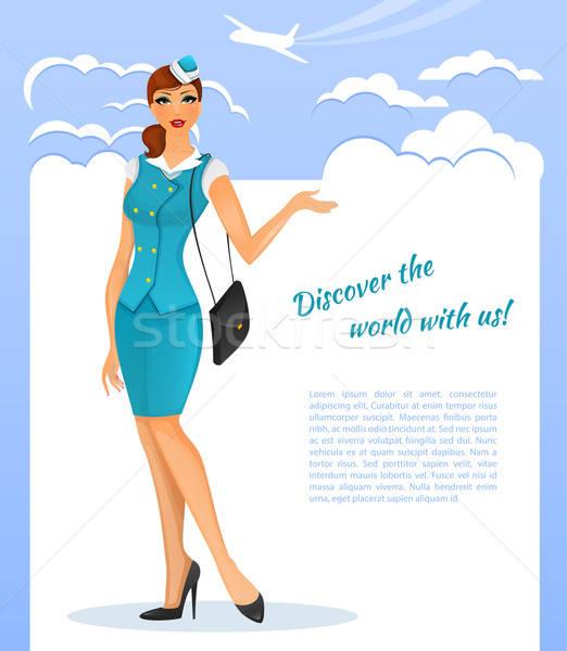 少女 スチュワーデス ユニフォーム 空 ファッション 芸術 ストックフォト © anastasiya_popov