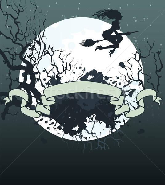 Хэллоуин темно назад дерево счастливым луна Сток-фото © anastasiya_popov