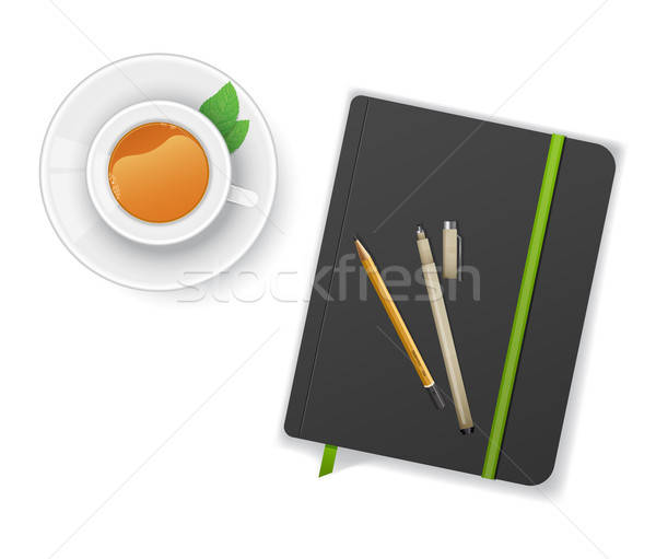 Cuaderno pluma taza té negocios fondo Foto stock © anastasiya_popov
