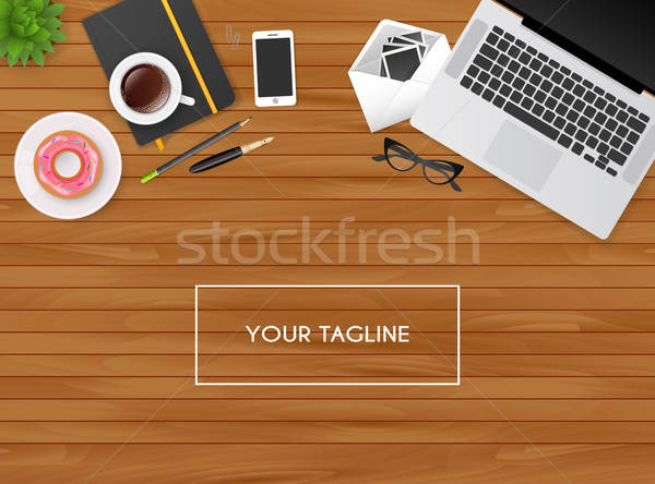 Munkahely izolált tárgyak kávé toll laptop háttér Stock fotó © anastasiya_popov