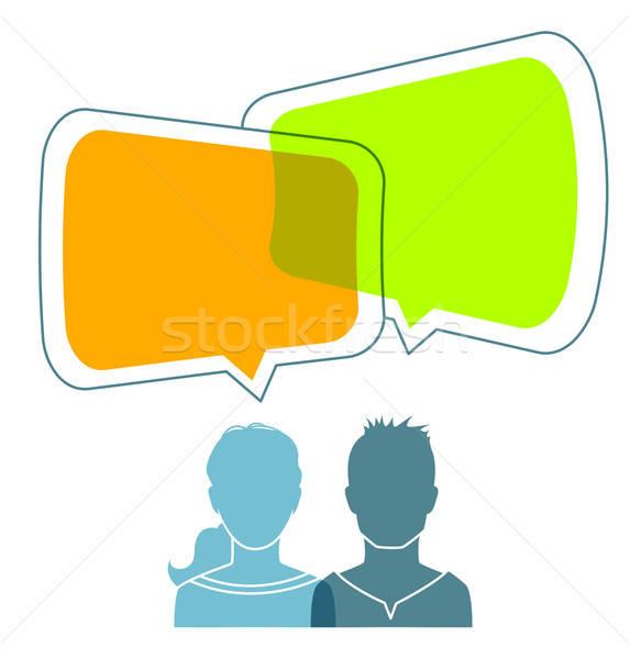 Dialog ludzi działalności komputera streszczenie technologii Zdjęcia stock © anastasiya_popov