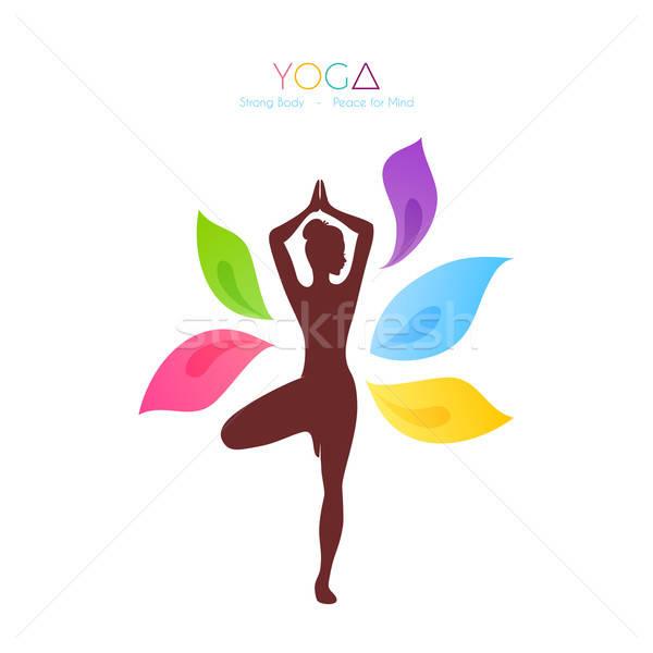 Güzel bir kadın yoga vücut imzalamak egzersiz boyama Stok fotoğraf © anastasiya_popov