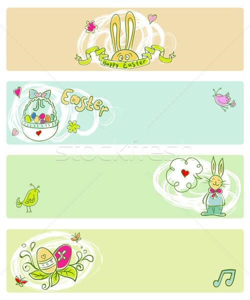 Paskalya şablon çiçek kâğıt yaprak sanat Stok fotoğraf © anastasiya_popov