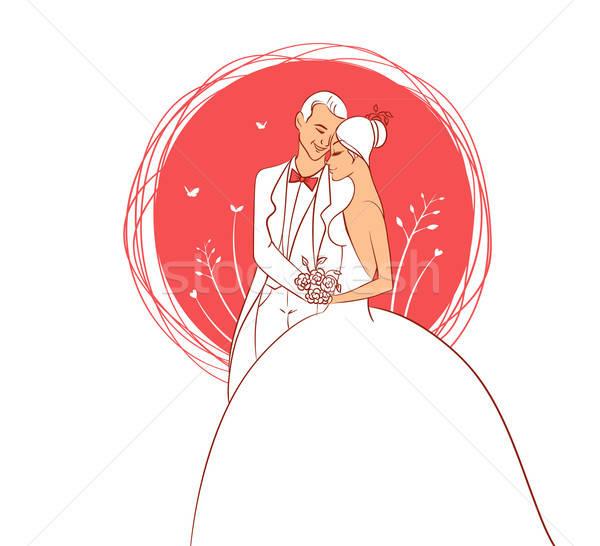 結婚式 カップル 少女 幸せ キス 夏 ストックフォト © anastasiya_popov