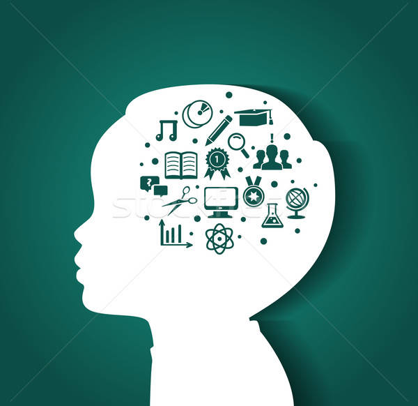 Foto stock: Criança · cabeça · educação · ícones · negócio · mão