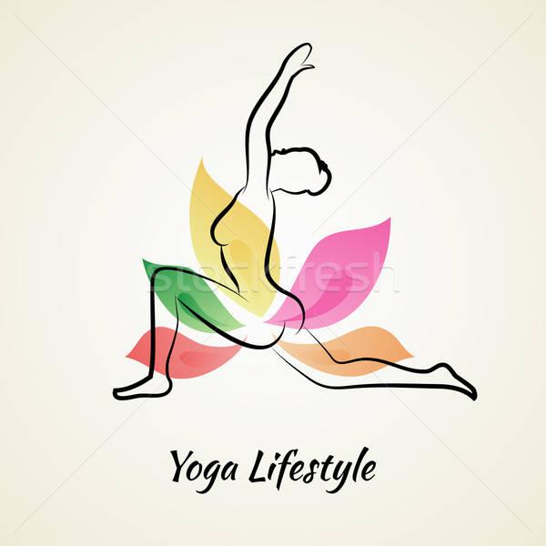 Güzel bir kadın yoga kadın çiçek kız soyut Stok fotoğraf © anastasiya_popov
