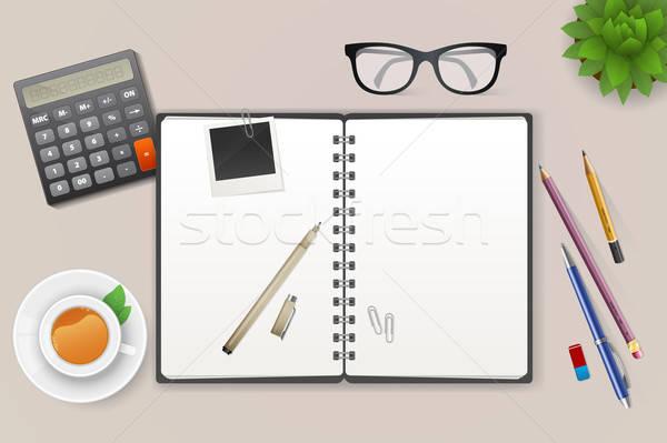 Workspace ноутбук чай бизнеса служба пер Сток-фото © anastasiya_popov